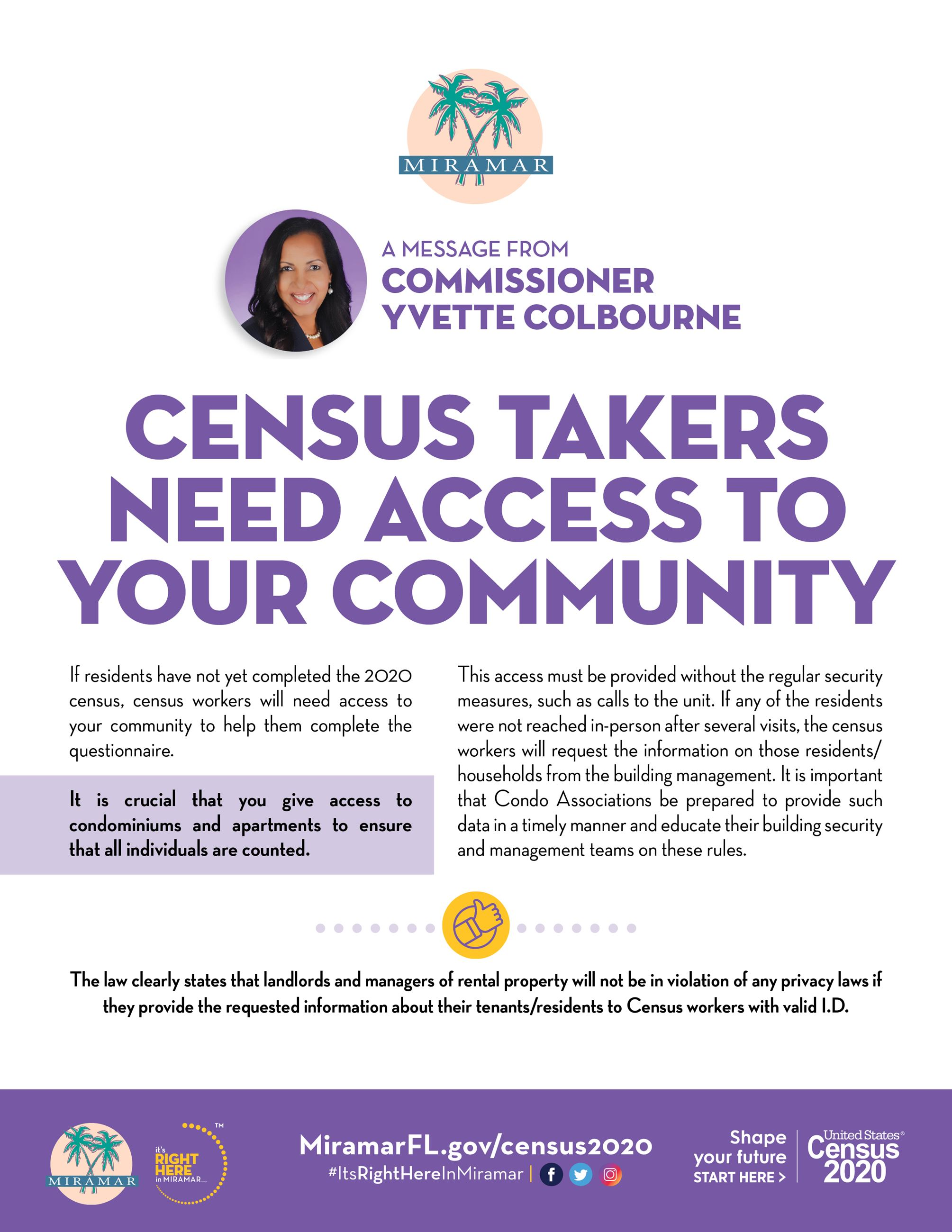 Census 2020 Community Message from Commissioner Yvette Colbourne