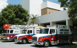 Ambulances and fire engines prepare to respond